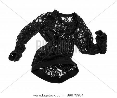 Stylish Black Blouse With Lace On The Move Isolated On White Background