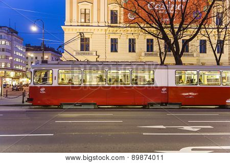 Historic Tram Operates In Vienna In Late Afternoon In First District