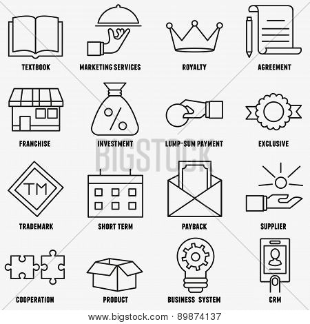 Set Of Linear Franchise Icons. Franchise As A Successful Business Model
