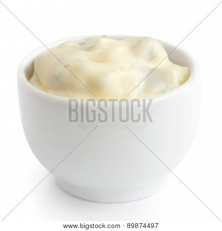Homemade tartar sauce in white dish.