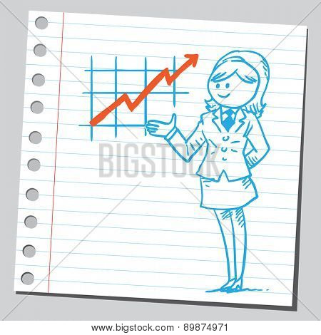 Businesswoman with graph chart