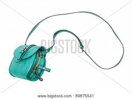 Green Bag In The Air On A White Background
