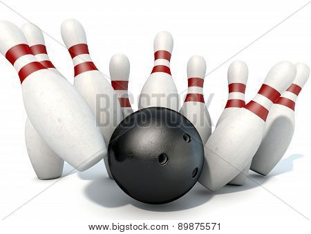 Ten Pin Bowling Pins And Ball