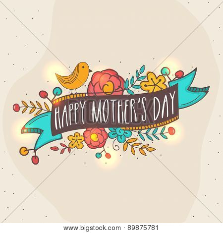 Happy Mother's Day celebration greeting card with colorful flowers, ribbon and bird on vintage background