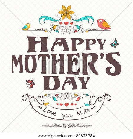 Happy Mother's Day celebration poster or banner with cute birds.