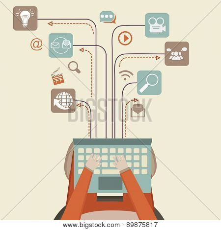 Communication and networking concept with illustration of human hand working on laptop and different social media icons.