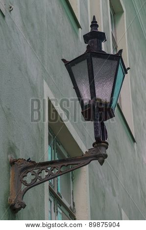 Old Classic Street Lamp On Front Of House