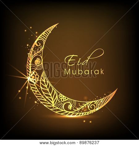 Muslim community festival, Eid celebration with beautiful golden crescent moon on brown background.