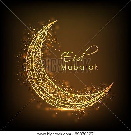 Golden floral design decorated moon on shiny brown background for Muslim community festival, Eid celebration.