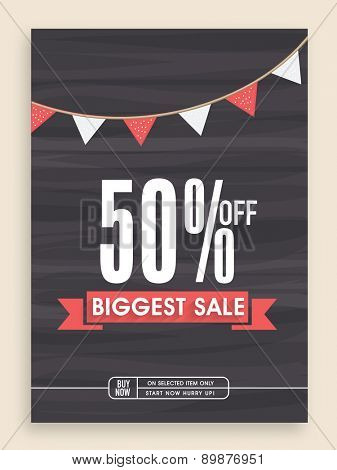 Stylish Biggest Sale poster, banner or flyer design with discount offer.