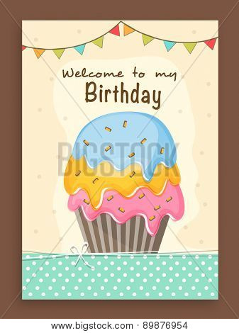 Vintage invitation card design decorated with delicious cupcake and colorful buntings for Birthday Party celebration.
