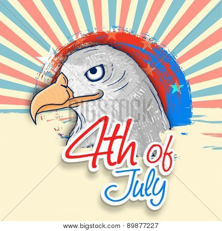 American national bird eagle on national flag colors rays background for 4th of July, Independence Day celebration.