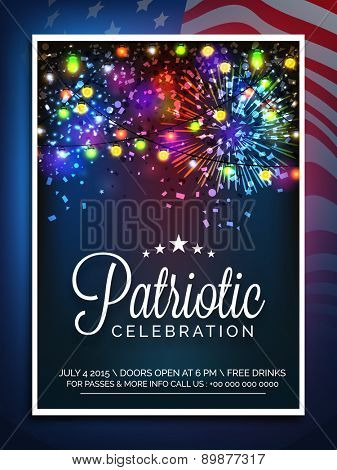 American Independence Day celebration invitation card decorated with colorful firecrackers and lights.