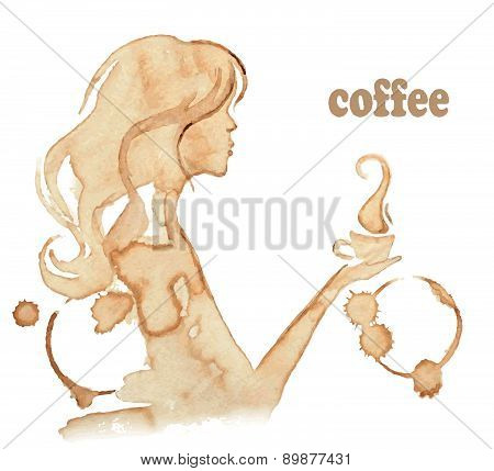 Girl Drinks Coffee, Drawing With Coffee Stains