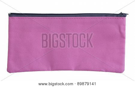 Pink Canvas Bag Isolated On White With Clipping Path