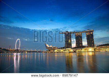Marina Bay, Singapore-mar 21: Twilight Time Of Marina Bay Show Of City Night Light Acitivity On Marc