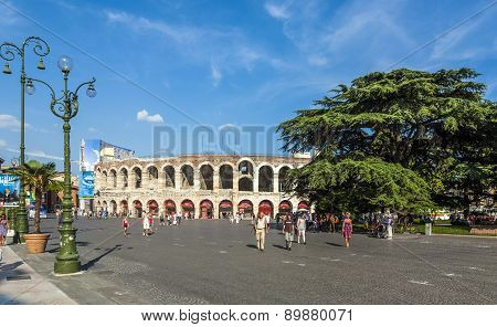 Visitors, Spectators Are Walking On Piazza Bra Outside The Arena Di Verona