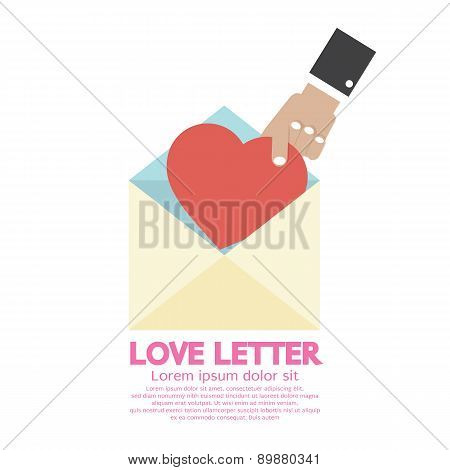 Hand Pick A Heart Love Letter Concept.