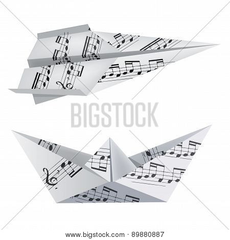 Origami Boat With Musical Notes