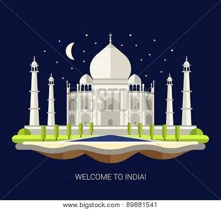 Illustration of flat design travel indian composition with Taj Mahal in India