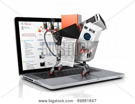 Large Home Appliances With A Check In The Shopping Cart On The Notebook. E-commerce Concept.