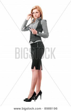 Pretty Young Blonde With Smartphone. Isolated