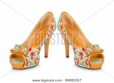 Beige Shoes With Floral Print On A White Background