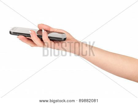 Hand Holding Mobile Smart Phone . Isolated On White.