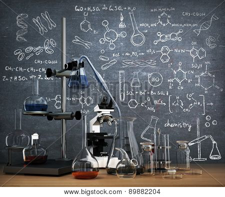 Chemistry Laboratory Concept. Laboratory Chemical Test Tubes And Objects On The Table With Chemistry