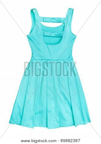 Sea-green Satin Dress Isolated On White Background