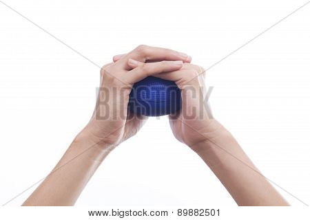Hands Of A Woman Squeezing A Stress Ball