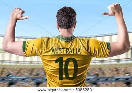 Australian soccer player in the stadium
