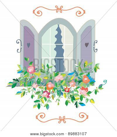 Window With Flowers Card - Retro Design