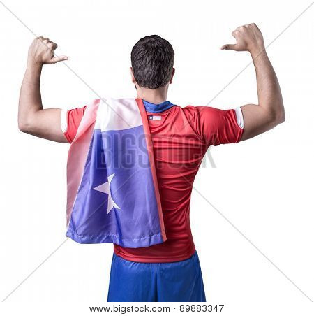 Chilean soccer player celebration on white background