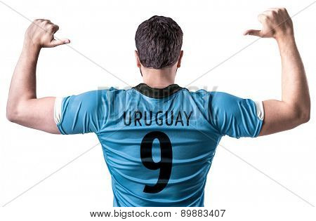 Uruguayan soccer player on white background
