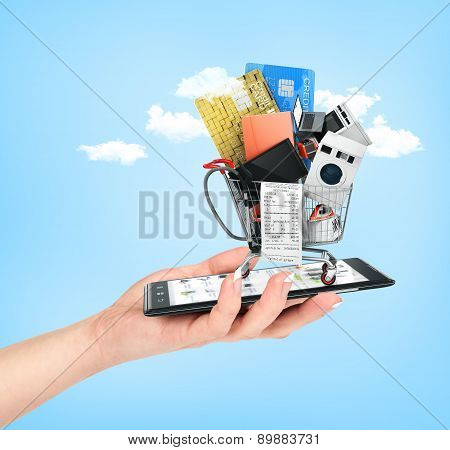 Online Shop Concept. Female Hand Hold Phone With  Large Home Appliances And Check In Shopping Cart O