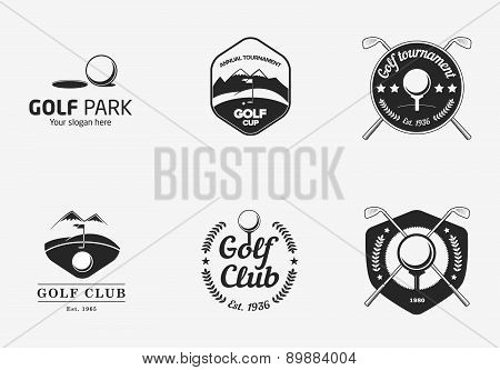 Set Of Vintage Black And White Golf Championship Logos And Badges
