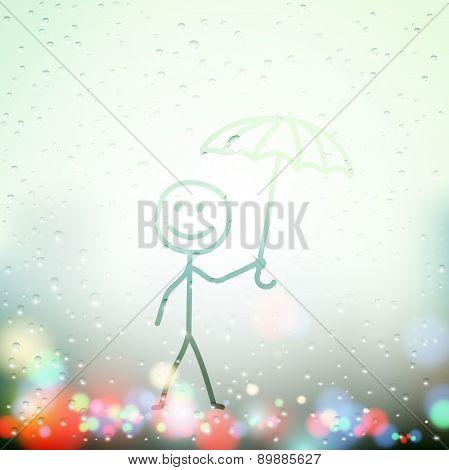 Vector Man With Umbrella