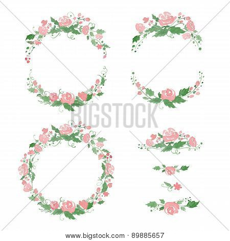 Watercolor floral frames, wreath, dividers. Vector illustration