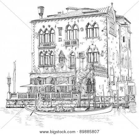 Venice - Grand Canal. Ancient building & gondola. Black & white sketch