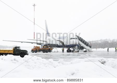 Service And Technical Support Airfield Maintenance Boeing-767 At Airport Of Petropavlovsk-Kamchatsky