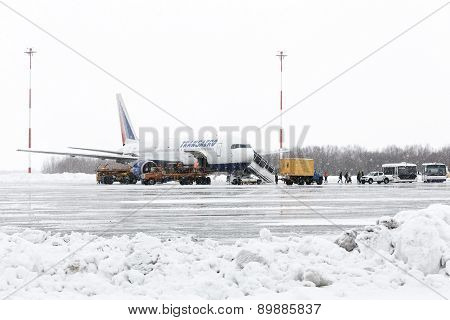 Service And Technical Support Airfield Maintenance Boeing-767 At Airport Petropavlovsk-Kamchatsky