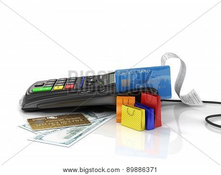 Payment Terminal With Credit Card, Money And Shopping Bag On White Background, Credit Card Reader, S