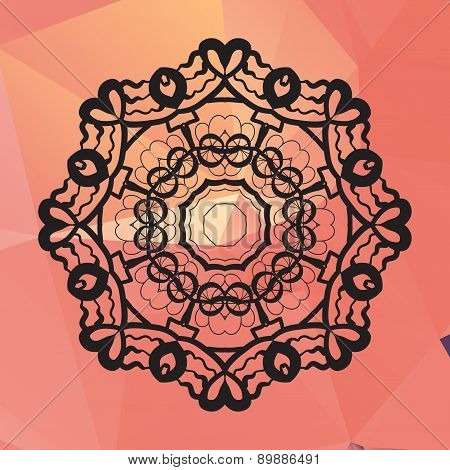 Ornament card with mandala like design. Geometric circle element made in vector, kaleidoscope,  meda