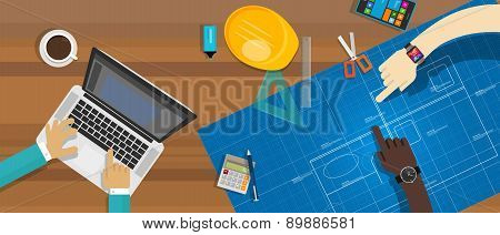 architecture construction desk team work blueprint