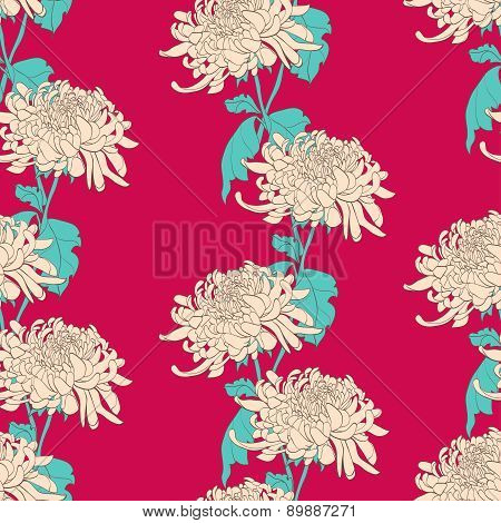Floral Seamless Pattern With Chrysanthemum On Crimson Background