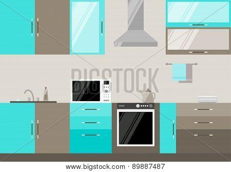 Blue And Beige Compound Kitchen Interior, Trendy Flat Style Design