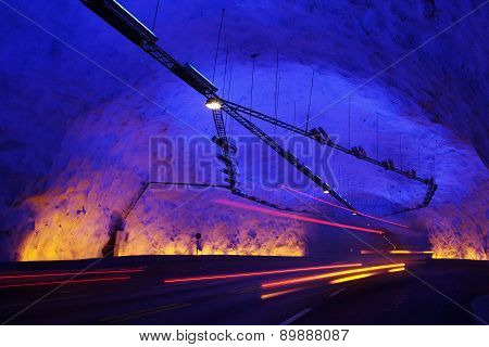 Rapid Movement In The Colorful Tunnel In The Mountains
