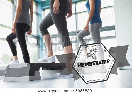 The word membership and three women in aerobics class against hexagon