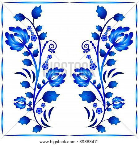 Floral Ornament In Gzhel Style. Two Stems With Flowers In Frame